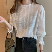 DE shop - 甜美少女蕾絲長袖襯衫 - XA-9808