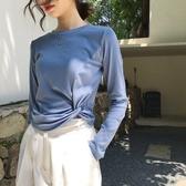春秋寬鬆顯瘦純色打結長袖t恤女正韓ins潮短款慵懶風bf上衣打底衫