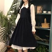 長袖洋裝森系新款木耳邊娃娃領甜美小清新襯衫 復古百搭學生背帶《微愛》