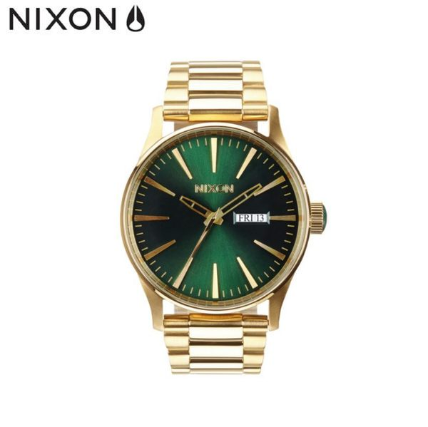 NIXON手錶 原廠總代理A356-1919 THE SENTRY SS 金綠 潮流時尚鋼錶帶 男女 運動 生日情人節禮物