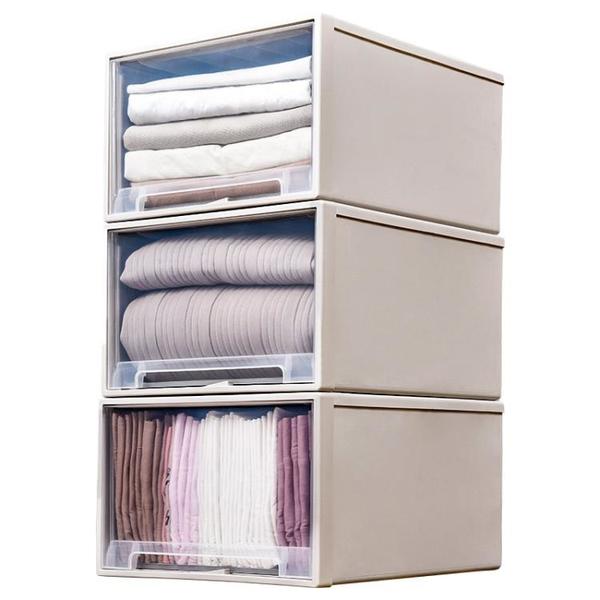 抽屜式收納箱塑料透明衣櫃收納盒衣物整理箱衣服儲物箱收納櫃櫃子 「顯示免運」