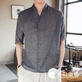 夏季男士短袖t恤中國風男裝寬松漢服半袖薄款亞麻上衣服大碼體恤-奇幻樂園