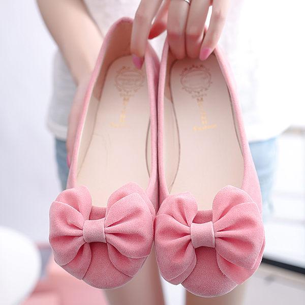 粉色圓頭淺口蝴蝶結坡跟女鞋