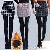 加絨打底褲女外穿秋冬加厚假兩件包臀裙褲高腰彈力大碼保暖小腳褲 雙12購物節