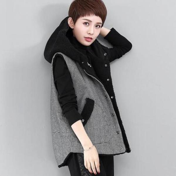 背心 羊羔毛絨棉馬甲女短款背心女裝韓版秋冬寬鬆連帽雙兩面穿格子馬夾QB73