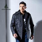 JOHN DUKE約翰公爵 騎士風連帽立領 風衣  (黑色)