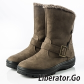 【Liberator】女中筒防潑水扣帶拉鍊雪鞋『卡其』L5025 (冰爪 / 內厚鋪毛 /防滑鞋底) 雪地靴.雪鞋