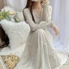 名媛碎花裙雪紡洋裝女長袖秋裝2020新款收腰顯瘦氣質仙女裙長 快速出貨