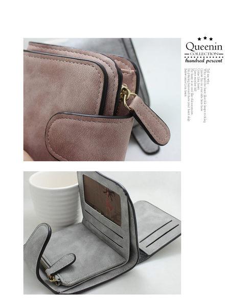 DF Queenin皮夾 - 文藝少女系仿皮款質感短夾-共2色