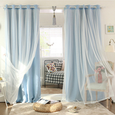 臥室雙層ins窗簾布溫馨韓式遮光成品 網紅公主風少女清新窗簾