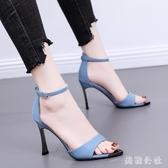 2020夏季新款高跟鞋粗跟時尚仙女風網紅ins潮細跟一字帶百搭涼鞋 DR35010【美鞋公社】