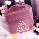 化妝箱大容量簡約便攜護膚品收納盒雙層韓版手提化妝包美甲工具箱 自由角落