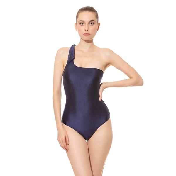 Beaut 單肩平口連身泳裝(棉杯可換)-靜夜藍