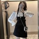 新品假兩件套裙子收腰一字肩氣質性感長袖掛脖洋裝女裝