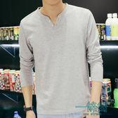 修身型男士長袖T恤V領純棉打底衫