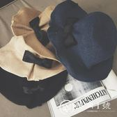 韓國蝴蝶結棉麻草帽防曬帽子可折疊優雅遮陽帽女夏季沙灘帽漁夫帽