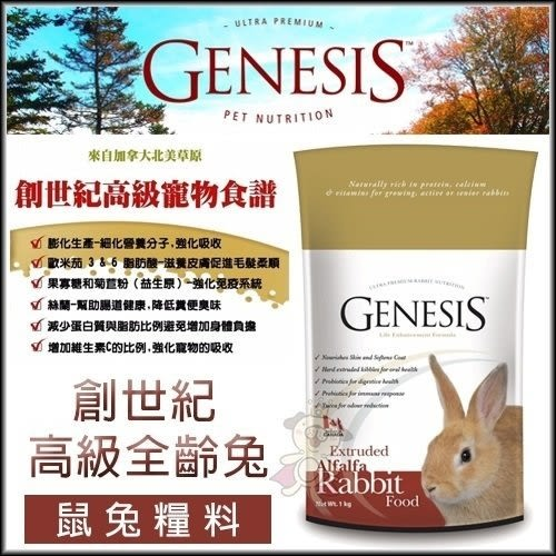 *KING WANG*【兩包組】加拿大《Genesis創世紀-高級全齡兔食譜GN002》2KG 兔飼料主食