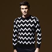 長袖針織衫-獨特黑白波浪設計男針織毛衣73ik34[時尚巴黎]