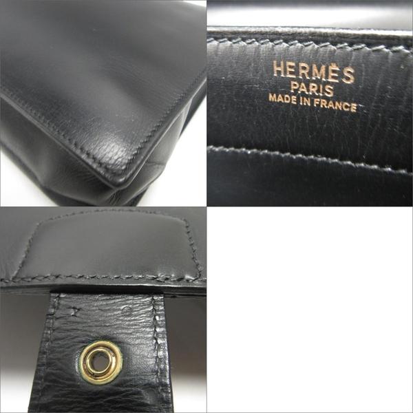 HERMES 愛馬仕 黑色Box 手提金釦公事包 T刻 1964【二手名牌 BRAND OFF】