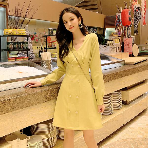 VK旗艦店 韓國風設計感V領氣質長袖洋裝