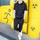 春夏季口袋連帽男士短袖T恤精神小伙純套裝LJ5715『miss洛羽』
