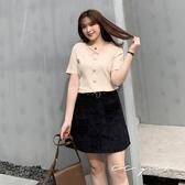 中大尺碼 排釦A字短裙(附腰帶)~共兩色 - 適XL~4L《 67239G 》CC-GIRL