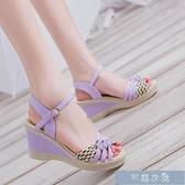 厚底涼鞋慕致夏季新款韓版坡跟女涼鞋平底沙灘鞋女式學生鞋草編高跟鞋 快速出貨