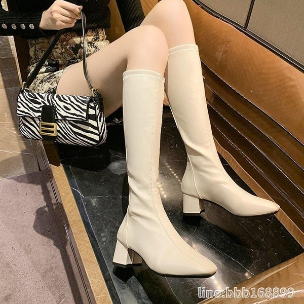 長靴 不過膝長靴女秋冬新款高筒英倫風帥氣粗跟方頭顯瘦長筒騎士靴 瑪麗蘇
