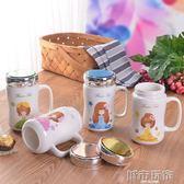 杯子  杯子陶瓷水杯辦公杯馬克杯帶蓋勺大容量牛奶杯卡通簡約創意鏡面杯 下標免運
