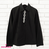 【SHOWCASE】俏麗縫鑽領襟氣質款OL襯衫(黑)