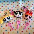 【發現。好貨】日本飛天小女警 毛毛 泡泡 花花自動伸縮鑰匙扣 包包鑰匙圈 掛飾 鑰匙收納袋