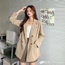 氣質雙排扣中長款西裝外套女秋季新款韓版寬鬆長袖上衣小西服 檸檬衣舍
