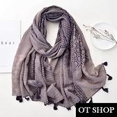 OT SHOP [現貨] 防曬空調絲巾 披肩 棉麻 波西米亞風 民族風 幾何拚色 流蘇 渡假風穿搭配件 D9078