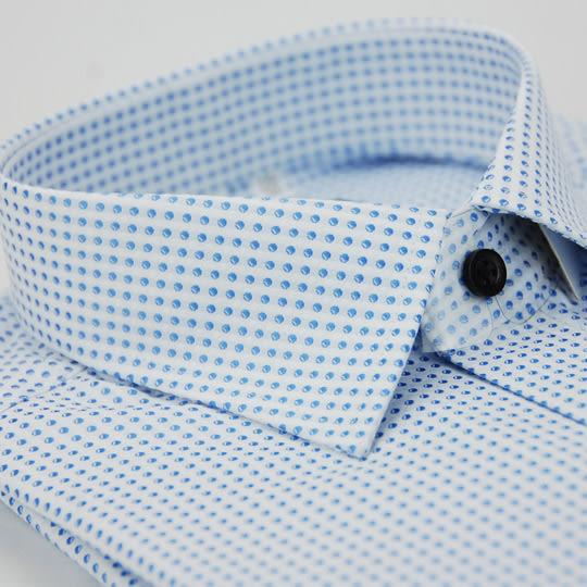 【金‧安德森】小圓藍點黑扣窄版長袖襯衫