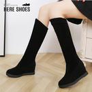 [Here Shoes]靴子-跟高8cm 隱行內增高 絨面質感 簡約百搭長靴-KND906