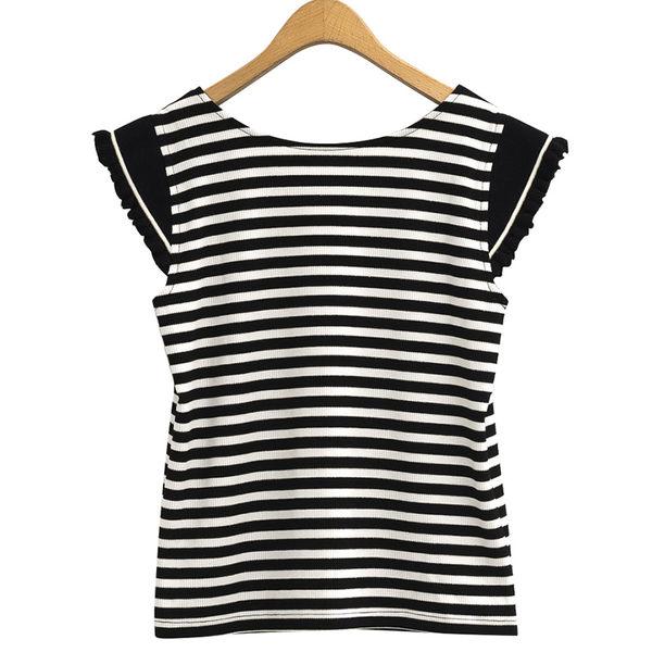單一優惠價[H2O]條紋金蔥布剪接羅紋小飛袖針織上衣 - 深藍條/黑條色 #9681007