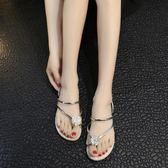 夾腳拖鞋 夏季外穿涼拖鞋平底人字拖兩穿夾趾花朵涼拖鞋女沙灘鞋子 【時尚新品】