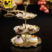 2層陶瓷干果盤 創意金色荷葉多層水果盤雙層蛋糕串盤糖果盤歐式WY450【衣好月圓】
