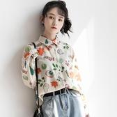 襯衫 孜索2020秋季新款復古花襯衫寬鬆學生少女長袖雪紡襯衣女港風上衣