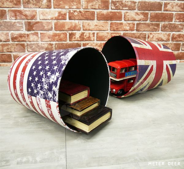 英國旗美國旗垃圾桶 收納桶 復古美式英倫風格 皮革製防潑水櫥窗擺飾雜物居家置物桶-米鹿家居