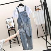 連身褲 ins超火背帶褲女寬鬆韓版新款連體褲網紅同款破洞牛仔褲 俏女孩