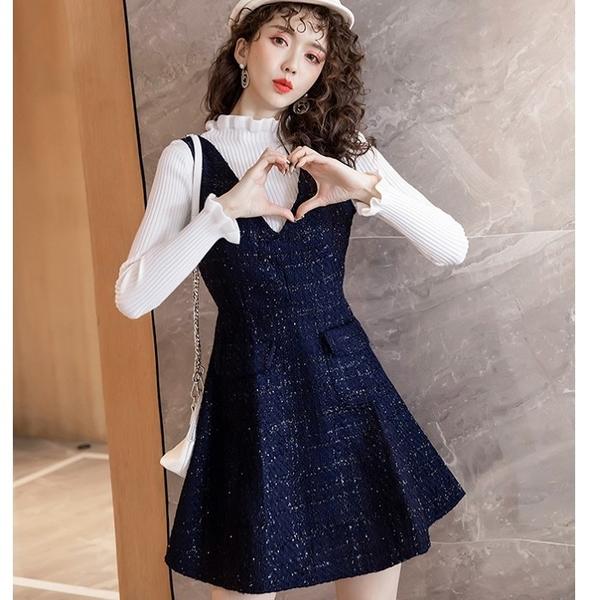 波浪領毛衣搭配小香風金蔥毛呢藏藍V領洋裝兩件套組(毛衣+背心裙)[98931-QF]美之札