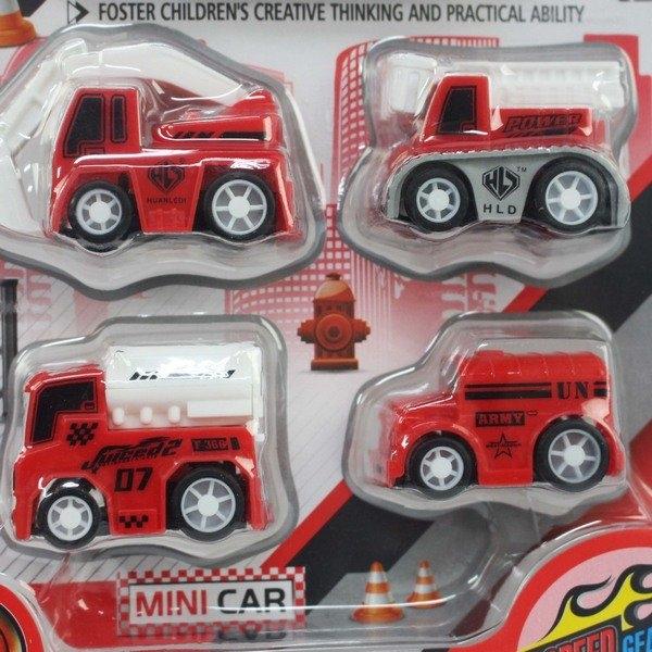 4入迴力迷你消防車 T353/一卡4個入(促90) 東匯 消防小汽車 迷你車 ST安全玩具-首876E-16ABC