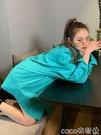 熱賣長版襯衫 中長款韓版湖藍色長袖襯衫女秋季設計感小眾外穿百搭港味寬鬆上衣【618 狂歡】