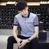 短袖男T恤夏季青年男士襯衫領半袖polo衫韓版修身潮流體恤上衣服 免運