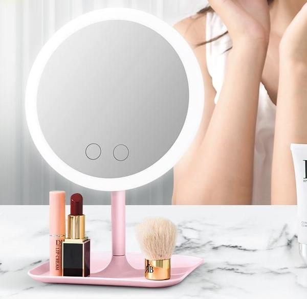 化妝鏡 led化妝鏡台式梳妝鏡補光桌面女便攜美妝宿舍折疊小鏡子帶燈網紅  夢藝家