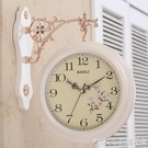 雙面掛鐘歐式創意表客廳靜音田園時鐘表兩面個性時尚現代簡約掛表 1995生活雜貨
