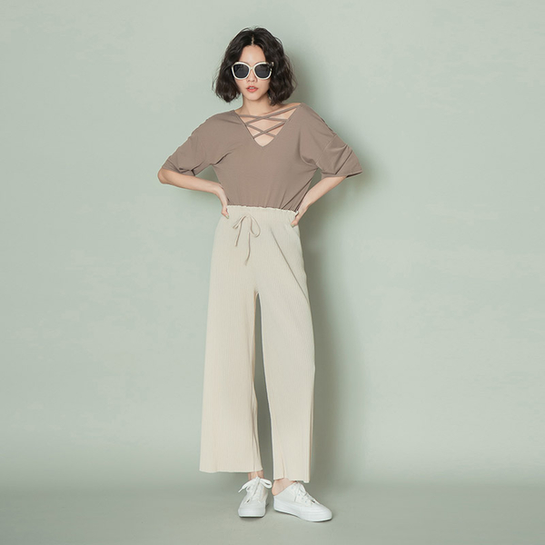 PUFII-寬褲 顯瘦坑條花苞長寬褲- 0512 現+預 夏【CP18536】