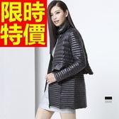 羽絨外套 女夾克-典雅百搭輕薄假兩件荷葉修身2色64m2[巴黎精品]