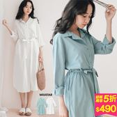MIUSTAR 素面寬版襯衫式三釦附綁帶棉麻洋裝(共2色)【NF3792LG】預購